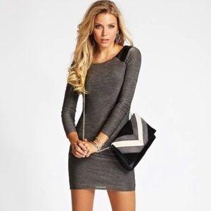 Guess Long Sleeve Bodycon Jersey Dress W/ Ruching